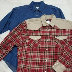 Wrangler Western Demin and Plaid Pearl Snap Bundle